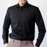 [파파브로]남성 봄가을 정장 캐주얼 면 셔츠 남방 와이셔츠 LSC-ST-001-블랙
