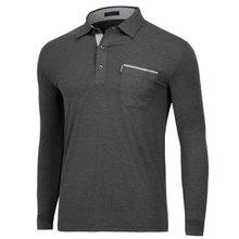 [파파브로]남성 국산 패턴 카라 긴팔 티셔츠 LM-A9-282-차콜