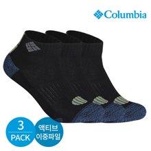 컬럼비아 남성 액티브 이중파일 넥블럭 발목양말 3P_BK