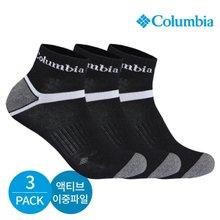 컬럼비아 남성 액티브 이중파일 와이형 발목양말 3P_BK