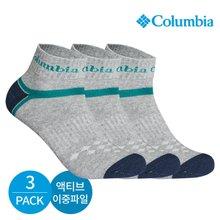 컬럼비아 남성 액티브 이중파일 와이형 발목양말 3P_GY
