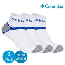 컬럼비아 남성 액티브 이중파일 와이형 발목양말 3P_WH