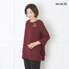 엄마옷 모슬린 셔링 이중 쉬폰 블라우스 BL907166