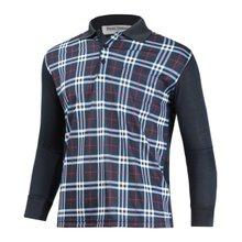 [파파브로]남성 캐주얼 체크 긴팔 카라 티셔츠 LM-A-601-네이비