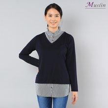 러플넥 단추 티셔츠 -TS8030641-모슬린 엄마옷 마담