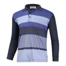 [파파브로]남성 캐주얼 패턴 긴팔 카라 티셔츠 LM-A-602-네이비