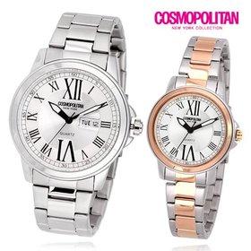 [코스모폴리탄] 남성 여성 커플 메탈 시계 CPM1417