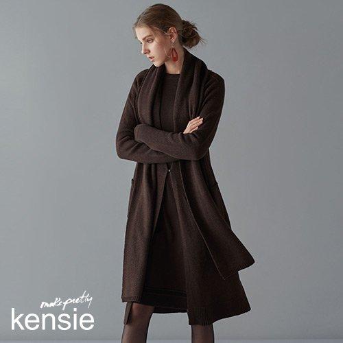 [켄지] KENSIE 19FW 클로이 울 블렌디드 니트 셋업 3PCS (가디건+원피스+머플러) (From NewYork)