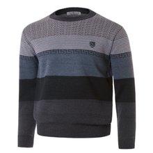 [파파브로]남성 패턴 라운드넥 울 니트 스웨터 VIP-769-그레이