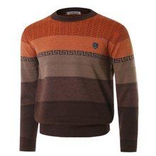 [파파브로]남성 패턴 라운드넥 울 니트 스웨터 VIP-770-브라운