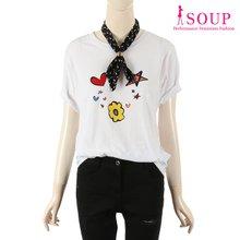 SOUP 프린트 포인트 반팔 티셔츠(ST6ST02)