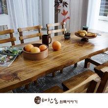 해찬솔 통원목 에코 식탁테이블 1800_w700_tr/통원목다리/원목책상/우드슬랩/카페테이블
