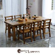 해찬솔 통원목 에코 6인용식탁 세트A 1800_w700_tr/의자포함/통원목다리/원목식탁/우드슬랩/카페테이블