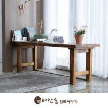해찬솔 통원목 에코 원목책상 테이블 2000_w700_tr/통원목다리/원목식탁/우드슬랩/카페테이블