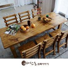 해찬솔 통원목 에코 6인용식탁 세트A 2000_w700_tr/의자포함/통원목다리/원목식탁/우드슬랩/카페테이블