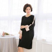 마담4060 엄마옷 진주소매배색원피스 QOP901016