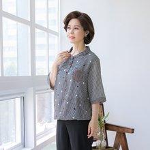 마담4060 엄마옷 체크땡블라우스 QBL906002