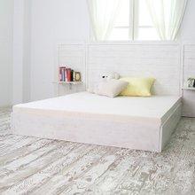 [바네스데코] 100%뉴송&고무나무 라인 수납형 퀸침대(white)