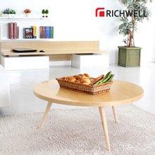 리치웰 천연무늬목 베이쥬 원형 거실테이블