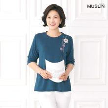 [엄마옷 모슬린] 꽃프린트 자수라운드 티셔츠 TS004004