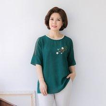 마담4060 엄마옷 꽃자수펀칭블라우스 QBL906027