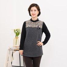 마담4060 엄마옷 겨울꽃배색티셔츠-ZTE911144-