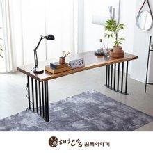 해찬솔 꼬우꼬통원목 서재 책상테이블 2000-as/카페테이블/보르네오월넛 우드슬랩