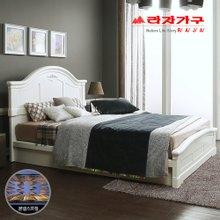 [라자가구]화이트 로맨스GM101 침대세트 퀸Q(본넬매트리스)