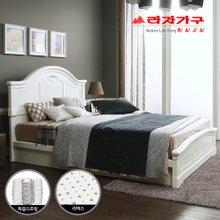[라자가구]화이트 로맨스GM101 침대세트 퀸Q(라텍스독립매트리스)