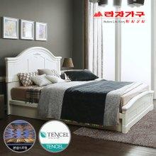 [라자가구]화이트 로맨스GM101 침대세트 퀸Q(텐셀본넬매트리스)