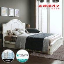 [라자가구]화이트 로맨스GM101 침대세트 퀸Q(텐셀 9zone독립매트리스)