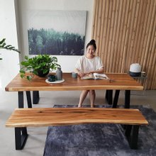 해찬솔 꼬우꼬통원목 6인용식탁세트 2000G-ap/책상테이블/보르네오월넛 우드슬랩