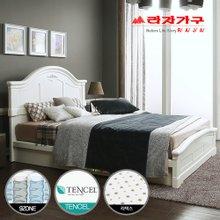 [라자가구]화이트 로맨스GM101 침대세트 퀸Q(텐셀라텍스 9zone독립매트리스)