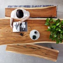 해찬솔 꼬우꼬통원목 6인용식탁세트 2000E-ap/카페테이블/보르네오월넛 우드슬랩