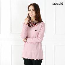 엄마옷 모슬린 꽃나염 스카프 티셔츠 TP903019