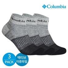 컬럼비아 남성 액티브 이중파일 그라데이션 발목양말 3P_BK