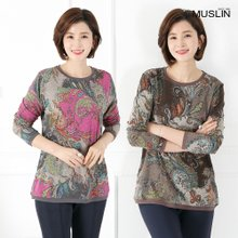 엄마옷 모슬린 페이즐리 라운드 티셔츠 TS903025