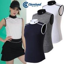 [클리브랜드골프] 싱글스판 어깨 배색 여성 스포티 민소매티셔츠/골프웨어_CGKWTS082
