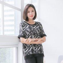 마담4060 엄마옷 트렌디한배색티셔츠 QTE905020