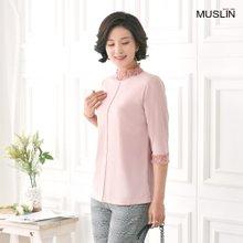 엄마옷 모슬린 레이스 7부 반폴 티셔츠 TP004051