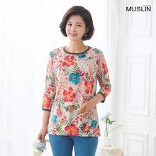 [엄마옷 모슬린] 줄기꽃 7부 라운드 티셔츠 TS004212
