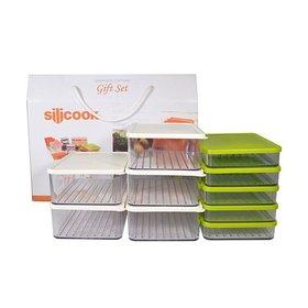 [실리쿡] 냉동실수납용기 컬러 납작이깊은2호기프트세트D (10종)