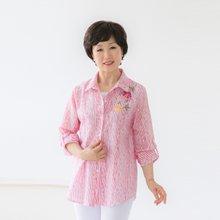 마담4060 엄마옷 꽃자수스트라이프셔츠 QBL905025
