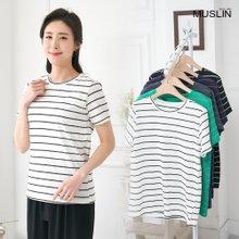 엄마옷 모슬린 유니크 보더 라운드 티셔츠 TS004116