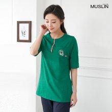 [엄마옷 모슬린] 테이프 라운드 티셔츠 TS004124