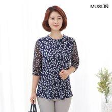 엄마옷 모슬린 나뭇잎 패턴 블라우스 BL007021