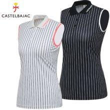 [까스텔바작] 폴리스판 스트라이프 여성 카라넥 민소매 티셔츠/골프웨어_BG7MTN802