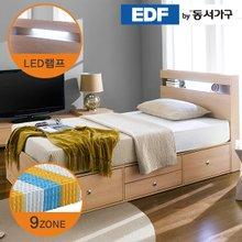 EDFby동서가구 루젠 LED조명 깊은서랍2단 슈퍼싱글 침대(9존독립) DF636053