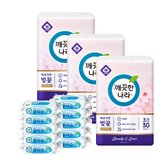 NEW 깨끗한나라 프리미엄 벚꽃 30롤x3팩+물티슈 1박스(10팩)