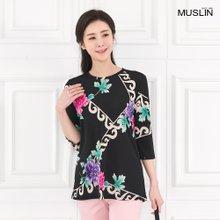 엄마옷 모슬린 찰랑 플라워 라운드 티셔츠 TS003122